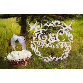 Вензель на свадьбу с ласточками МН-000024