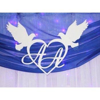 Инициалы в сердце с голубями АС-000014