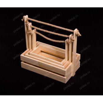Деревянный ящик Реечный-1 ручка канат+дерево ЯЩ-000012