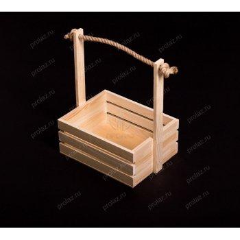 Деревянный ящик Реечный-2 ручка канат+дерево ЯЩ-000016